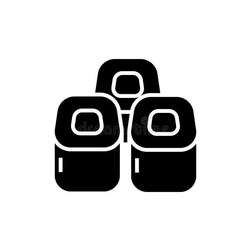 Rollos de sushi icono, ejemplo del vector, muestra negra en fondo aislado ilustración del vector