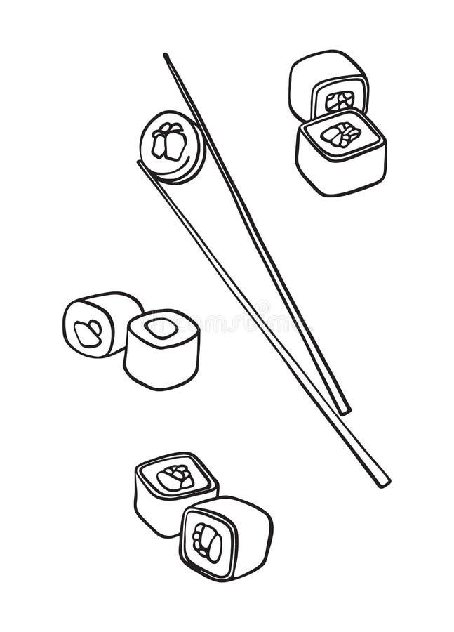 Rollos de sushi y palillos Vector exhausto de la mano, dibujo negro de la tinta aislado en el fondo blanco Comida japonesa nacion libre illustration