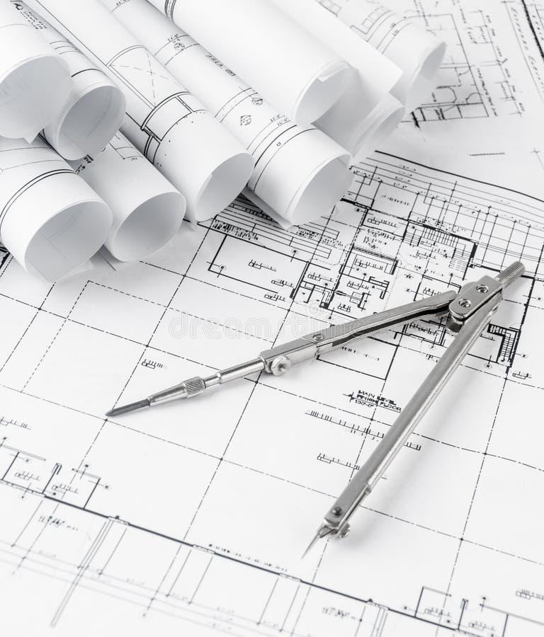 Rolls планов светокопий и дома архитектуры иллюстрация штока