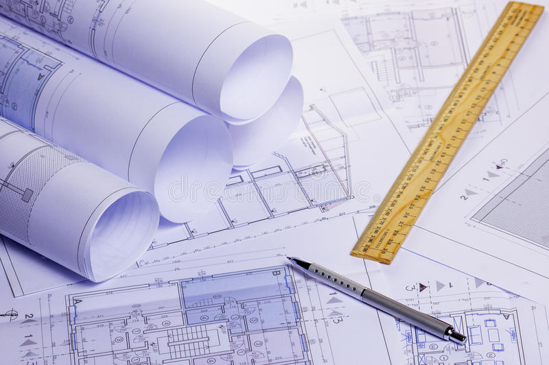 Download Rolls Of Architectural House Plans Stock Photo - Image of architectural, pencil: 39502290