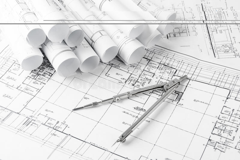 Rolls of architecture blueprints and house plans stock illustration download rolls of architecture blueprints and house plans stock illustration image 55593478 malvernweather Images