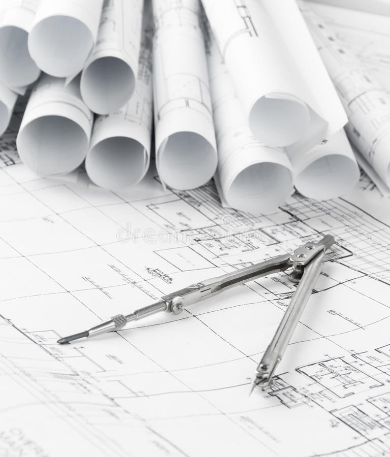 Rolls of architecture blueprints and house plans stock illustration download rolls of architecture blueprints and house plans stock illustration illustration of draft architectural malvernweather Images