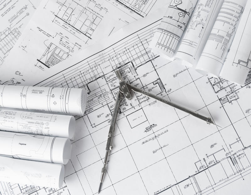 Rolls of architecture blueprints and house plans stock image image download rolls of architecture blueprints and house plans stock image image of drafting document malvernweather Images