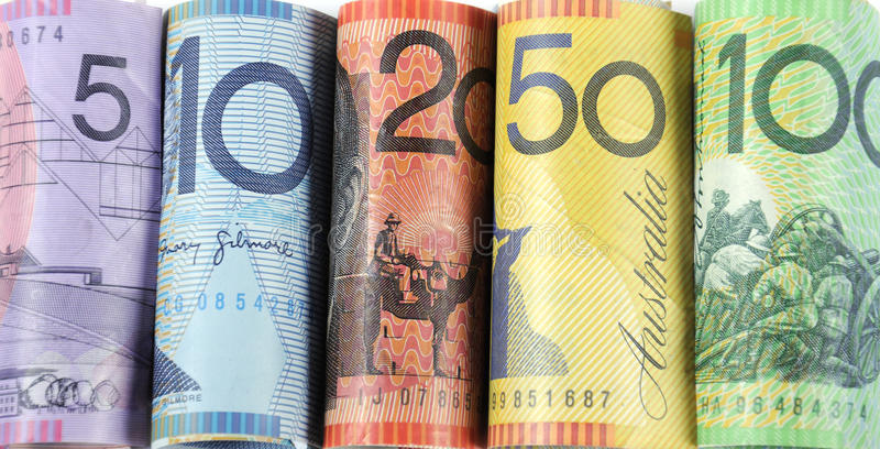 Rolls of Australian cash money. With five, ten, twenty, fifty and one hundred dollar notes stock photos