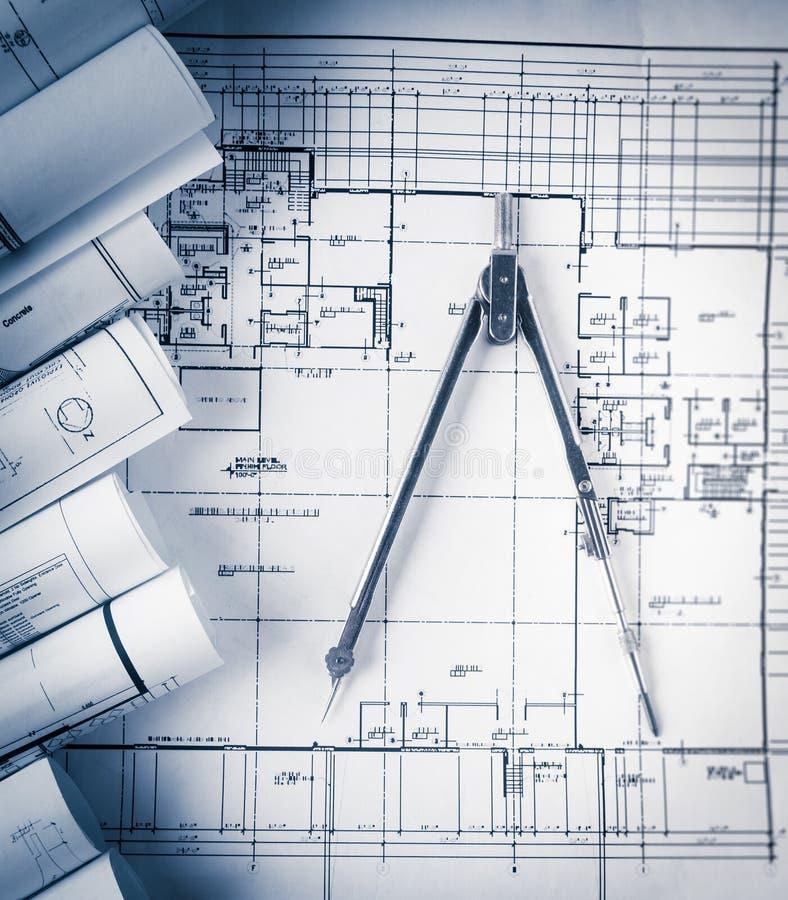 Rolls av arkitekturritning- och husplan fotografering för bildbyråer