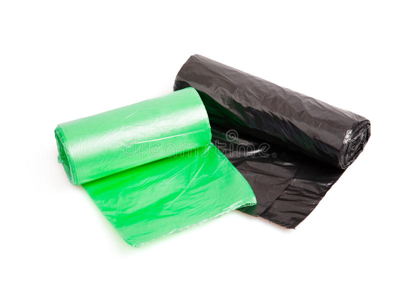 Rolls of bin bags. Isolated on white background royalty free stock image