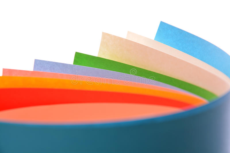 Rolls of color paper. Bright rolls of color paper isolated on white stock photography