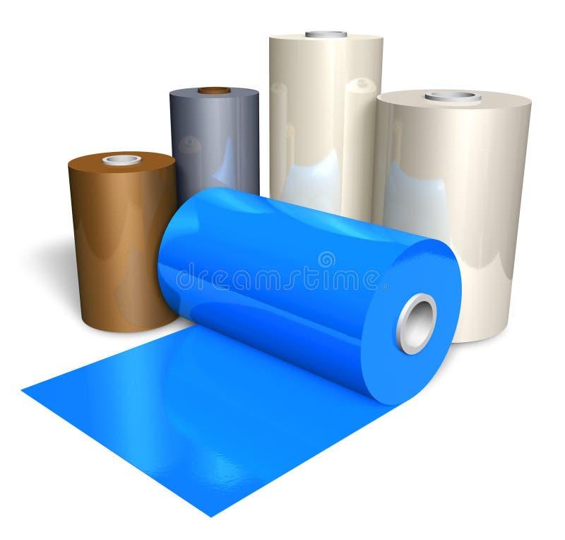 Rolls of color plastic tape royalty free illustration