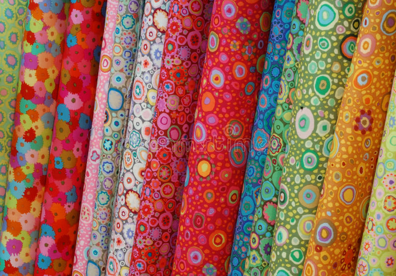 Download Rolls Of Colorful Printed Cloths Stock Photo - Image: 38310408