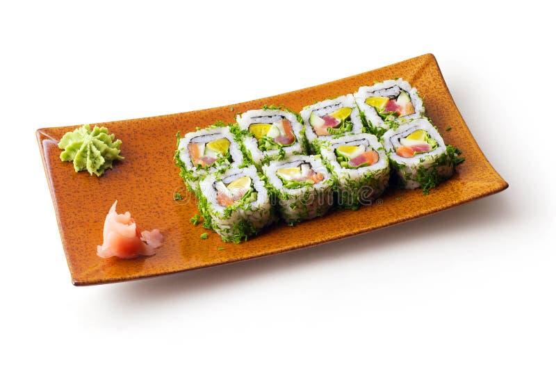 Rolls com atum, salmões, queijo e pepino fotos de stock