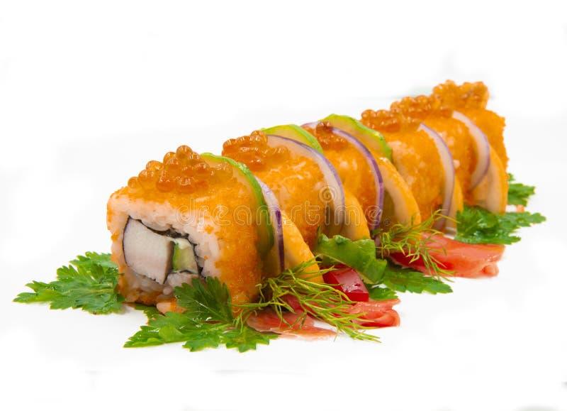 Rolls com caviar dos peixes foto de stock royalty free