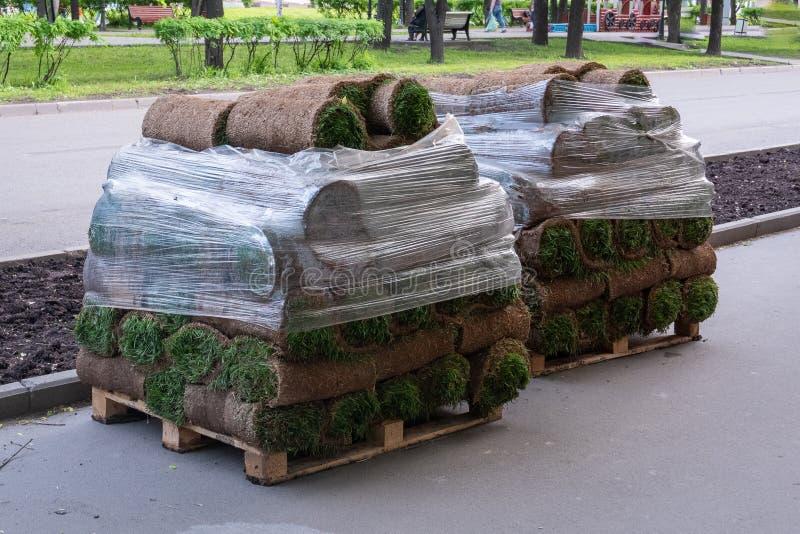 Rolls d'une pelouse naturelle avec la terre empilent sur des palettes dans une pile et sont couvertes de film sur la rue images libres de droits