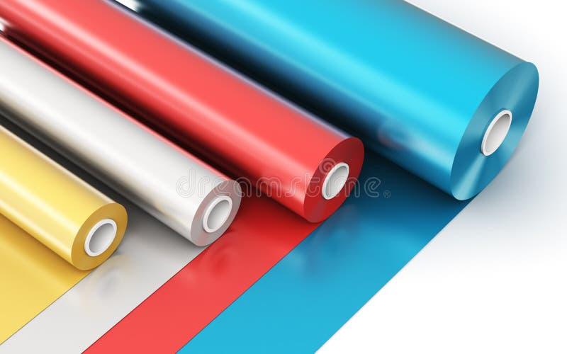 Rolls de bande en plastique de PVC de couleur illustration libre de droits