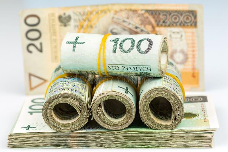 Rolls de billetes de banco - zloty polaco foto de archivo libre de regalías