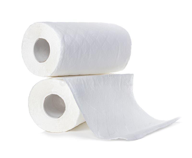 Rolls de las toallas de papel, aislado en blanco foto de archivo libre de regalías