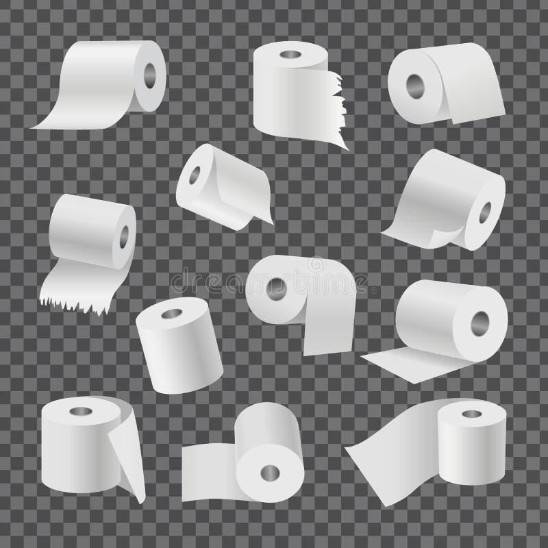 Rolls de papier hygiénique sur le fond transparent illustration stock
