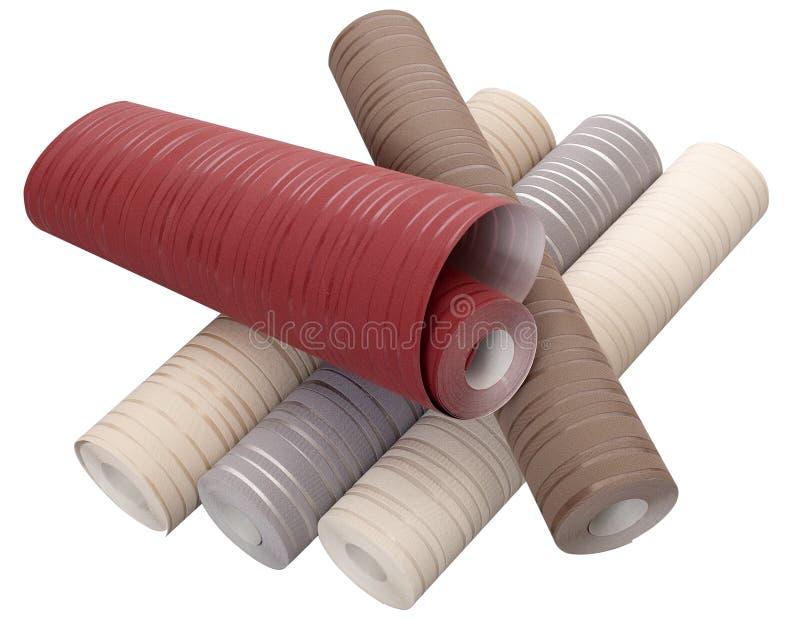Rolls del papel pintado en diversos colores aislado en el backgro blanco fotografía de archivo