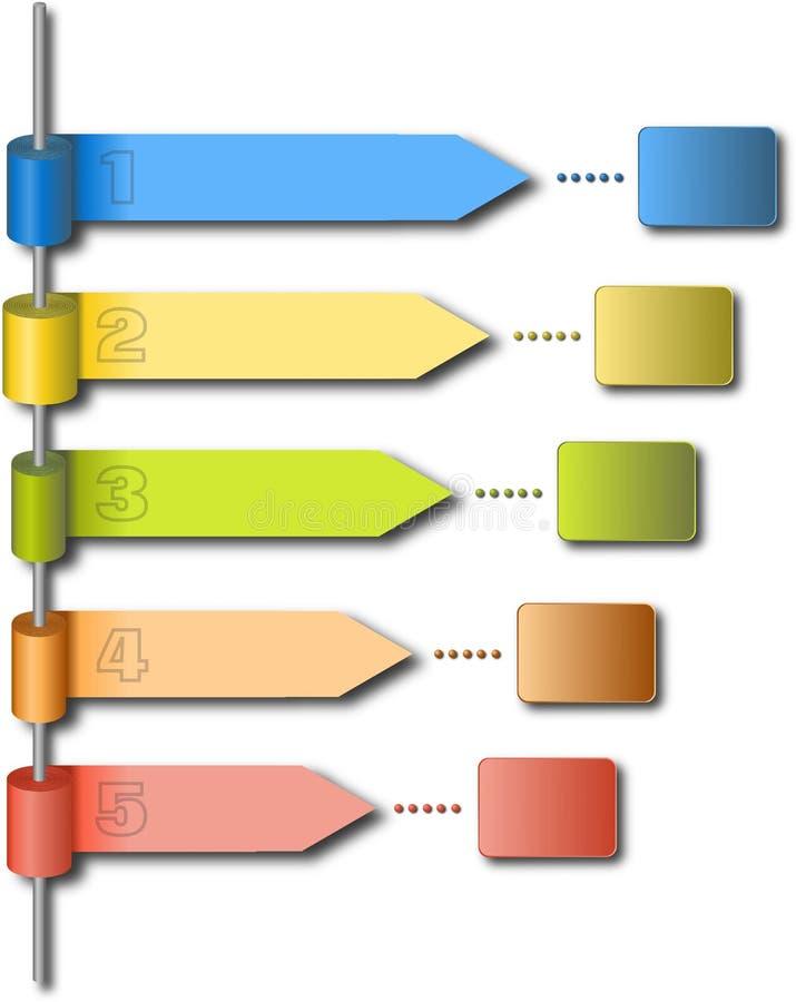 Rolls des papiers colorés à la tige en métal en tant que calibre infographic illustration de vecteur