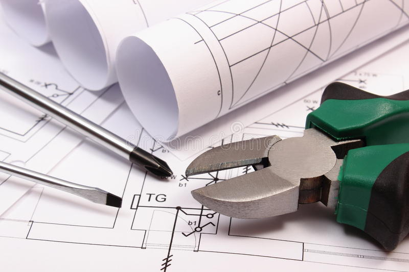 download rolls of diagrams and work tools on electrical construction drawing of house stock po