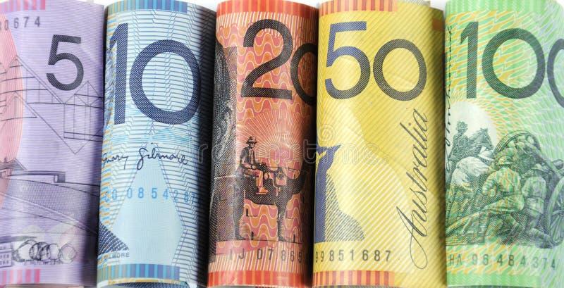 Rolls do dinheiro australiano do dinheiro fotos de stock