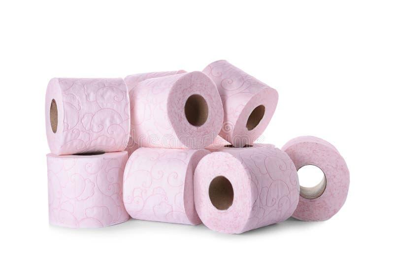 Rolls do papel higiênico no fundo branco fotografia de stock