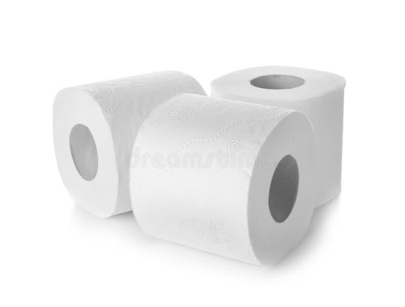 Rolls do papel higiênico no fundo branco fotos de stock royalty free