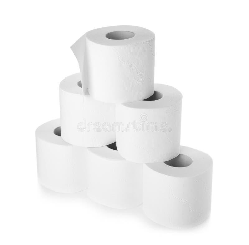 Rolls do papel higiênico no fundo branco imagem de stock royalty free