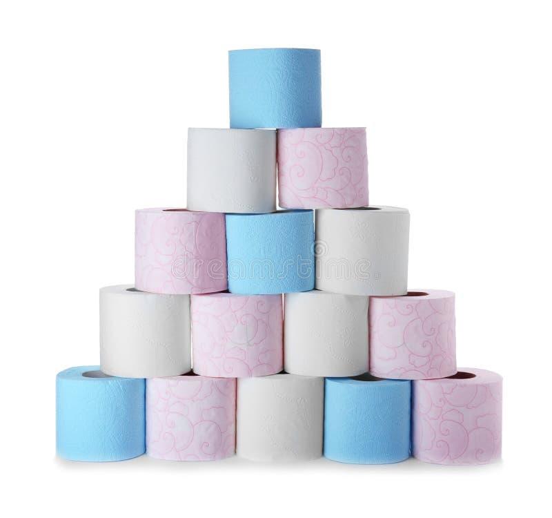 Rolls do papel higiênico no fundo branco fotografia de stock royalty free