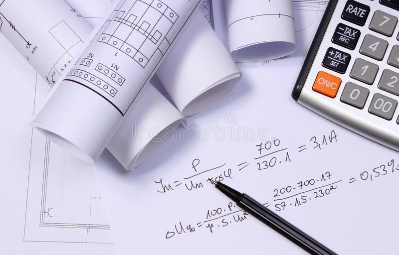 rolls of electrical diagrams calculator and mathematical rh dreamstime com 2011 NEC Electrical Calculator electrical motor winding diagram calculator
