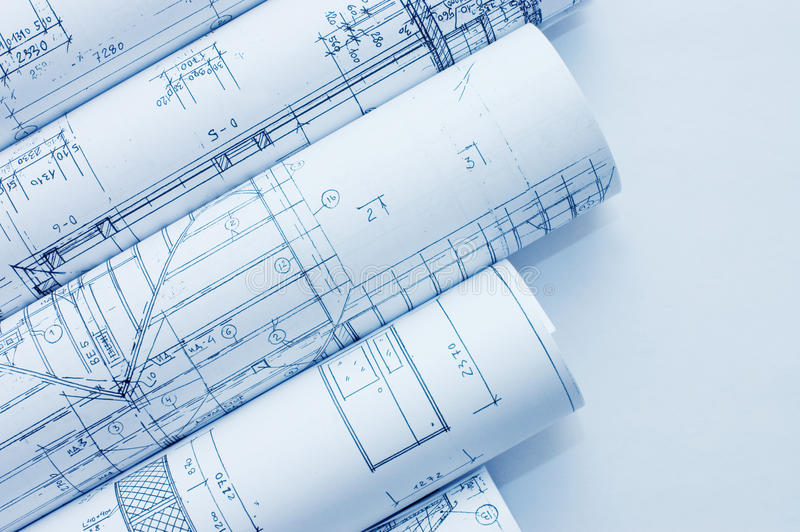 Download Rolls Of Engineering Drawings Stock Photo - Image: 13538438