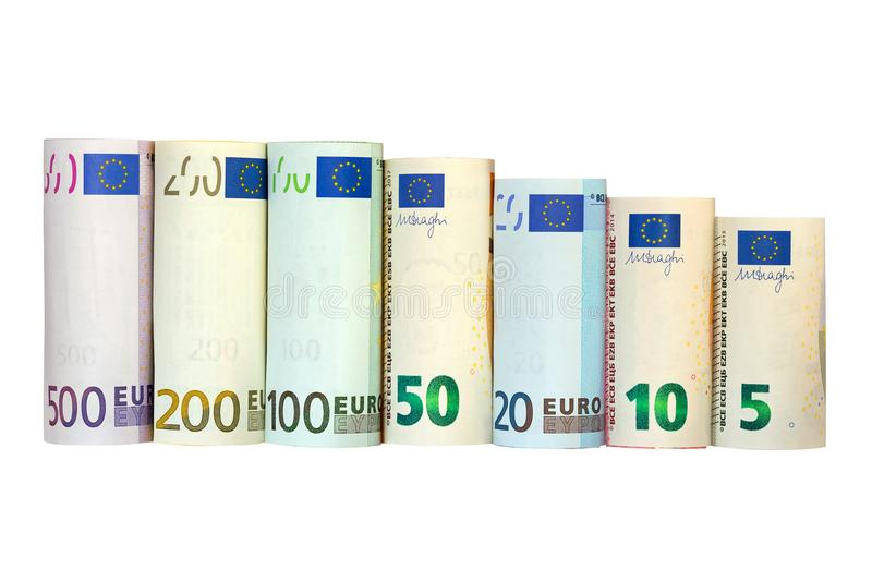 Rolls of Euro Banknote. Different European money isolated on white background. royalty free stock photography