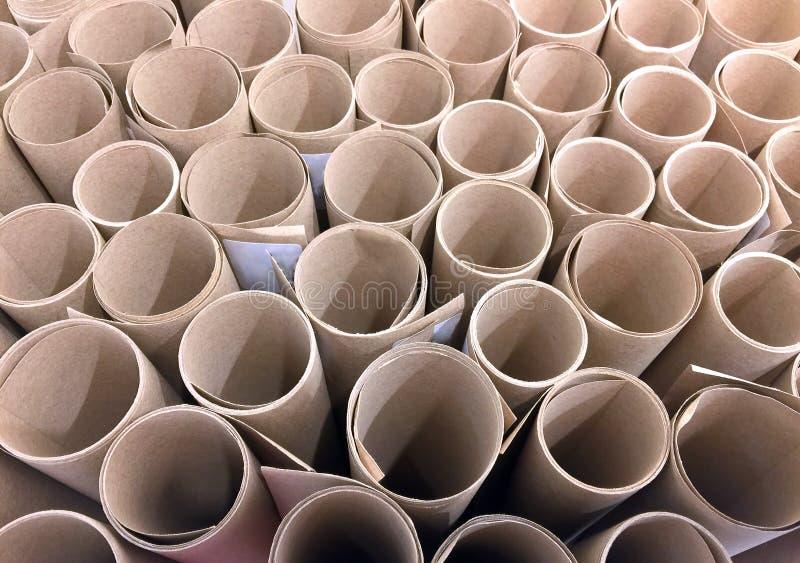 Rolls för brunt papper bakgrund arkivfoto
