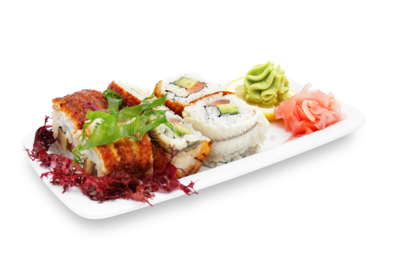 Download Rolls and Greens stock photo. Image of meat, japanese - 7638552
