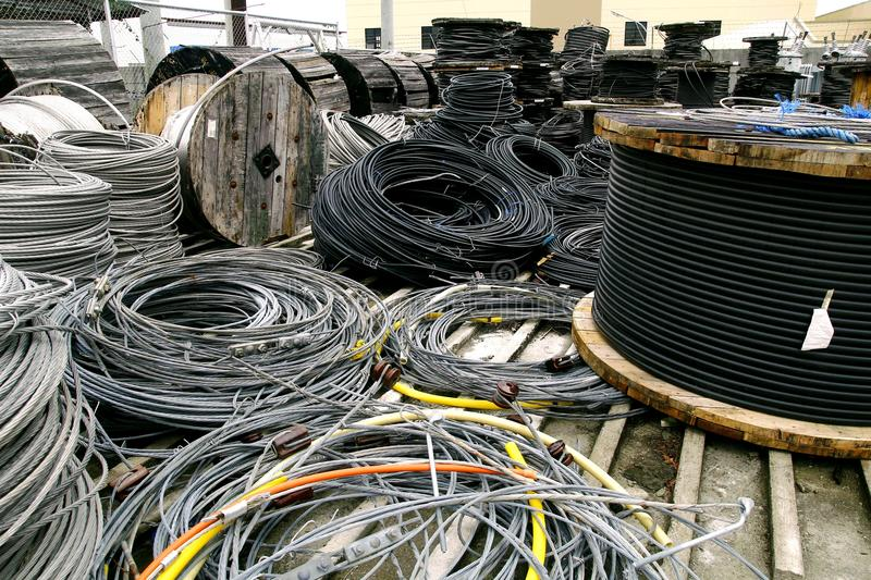 Rolls Of Industrial Electric Cable Stock Photo - Image of wire ...