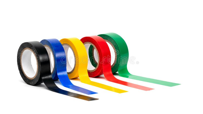 Rolls of insulation adhesive tape, multi colored ribbons on a white background. Bright and colorful insulation tape stock images