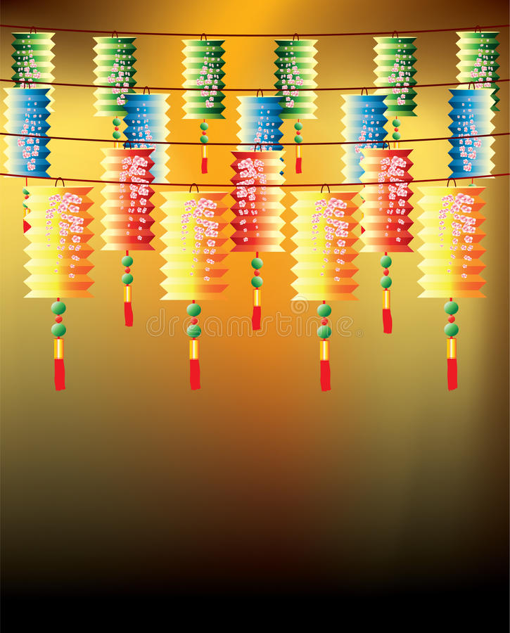 Rolls of multi-color chinese lanterns
