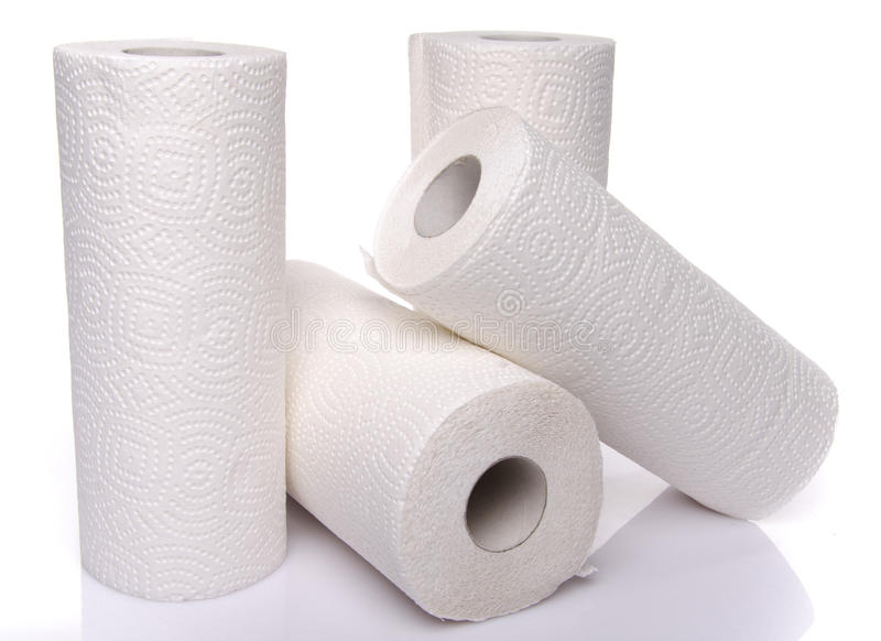 Rolls of paper towels royalty free stock images