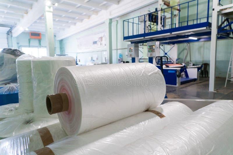 Rolls of polyethylene or polypropylene film in a warehouse.  stock image