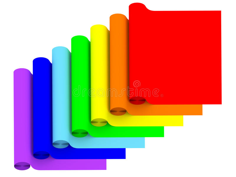 Rolls of rainbow color materials isolated on white stock illustration