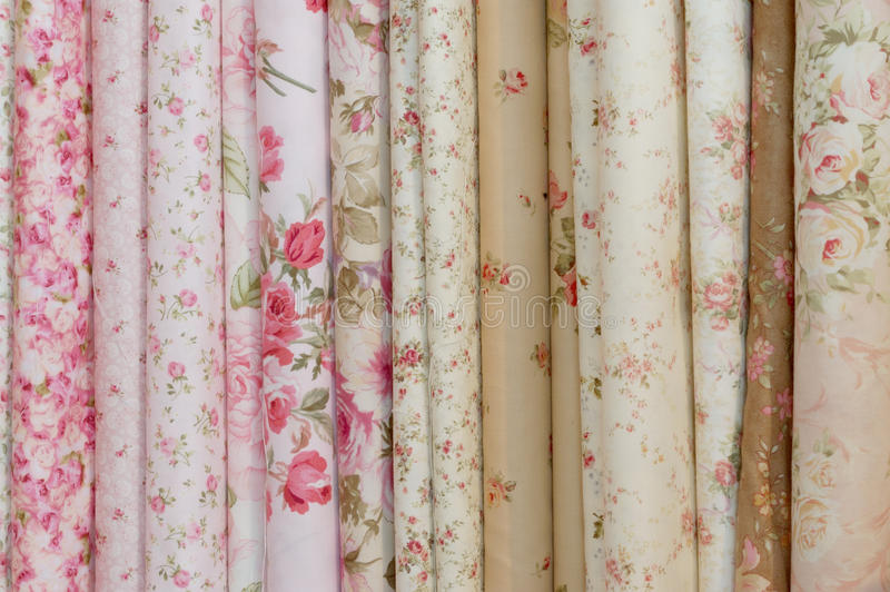 Download Rolls Of Romatic Flowery Printed Cloths Stock Image - Image: 38310699