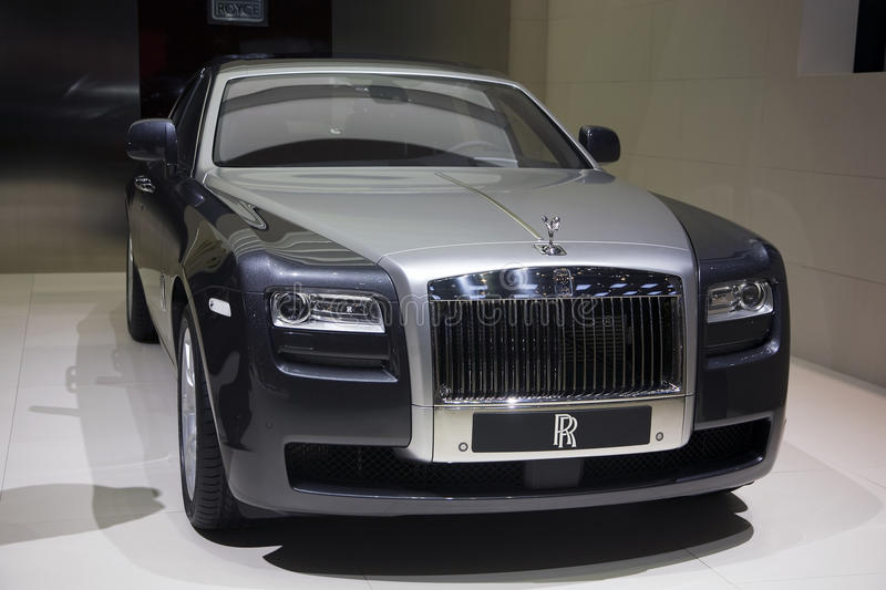 Rolls Royce 102EX Electric Concept. At the 2011 edition of the Geneva Motorshow. Photo taken on: March 04th, 2011 stock photos