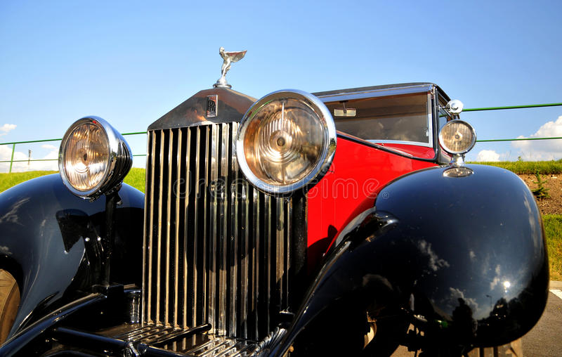 Rolls-Royce 20/25 hp Limousine. Rolls Royce logo and symbol Gathering of vintage cars stock images