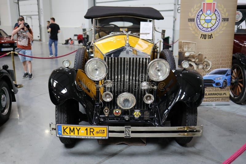 Rolls royce convertível na mostra de Moto em Krakow imagens de stock royalty free