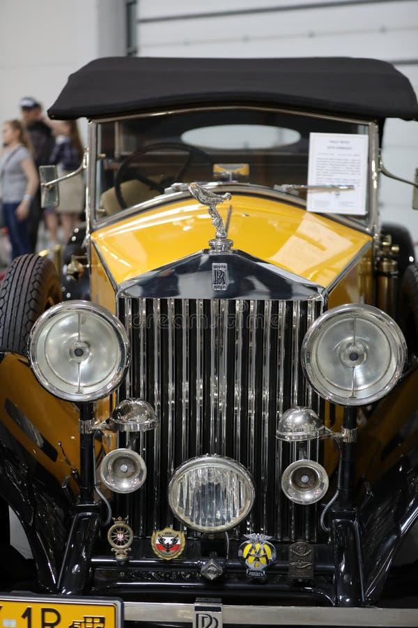 Rolls royce convertível na mostra de Moto em Krakow foto de stock