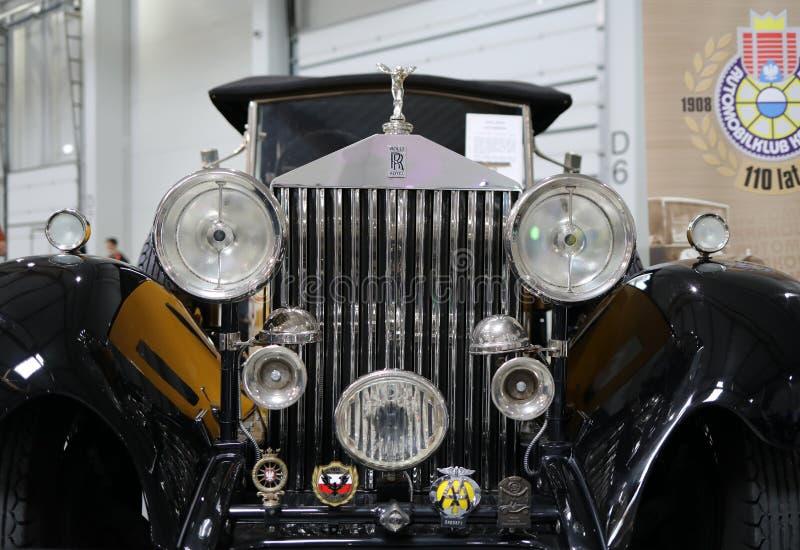 Rolls royce convertível na mostra de Moto em Krakow fotos de stock royalty free