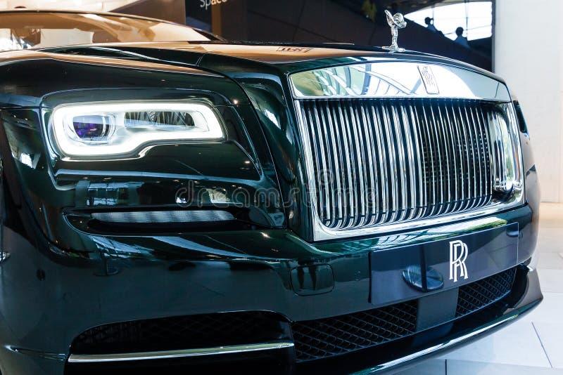 Rolls Royce, de geest van Ecstasy figuur op een motorkap BMW Welt, München, Duitsland, maart 2020 stock afbeeldingen