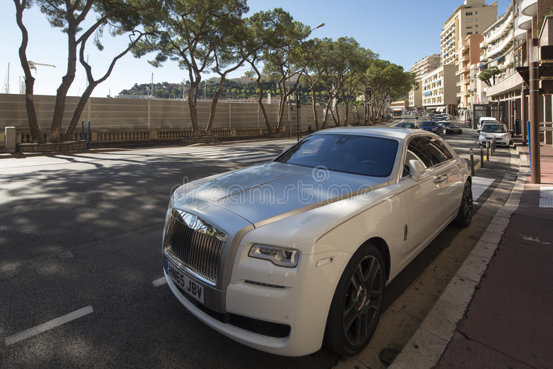 Rolls Royce Ghost. On Boulevard Albert 1er avenue in Monaco City district, Monaco. Monaco is a sovereign city-state and microstate, located on the French stock image