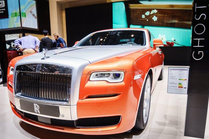 Rolls royce Ghost, exposição automóvel Geneve 2015 fotos de stock