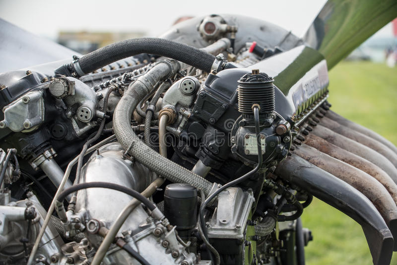 Rolls Royce Merlin aero engine. V12 27 litre powerplant of numerous World War 2 aircraft and renowned in British Spitfire fighter amongst others. Seen as stock image