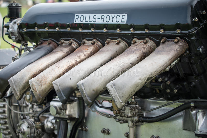 Rolls Royce Merlin aero engine. V12 27 litre powerplant of numerous World War 2 aircraft and renowned in British Spitfire fighter amongst others. Seen as stock photos